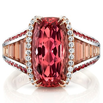 Ring with 6.68ct cushion cut Imperial topaz, accenting topaz, red spinels and diamonds in platinum and 18K rose gold
