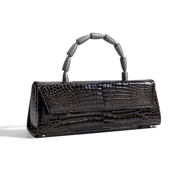 'Calla' bag with diamond and titanium handle in grey crocodile leather