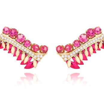 'Branch' earrings with pink tourmaline, diamonds and enamel in 18k yellow gold