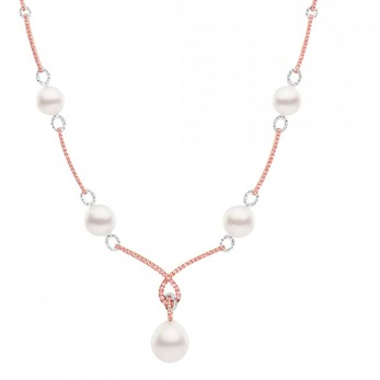 'Kailis' necklace with Argyle pink diamonds, colourless diamonds and pearls in 18k white gold