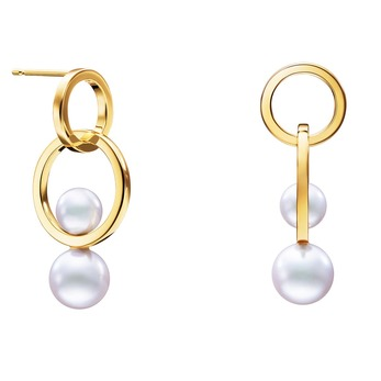 'Cosmic' earrings with Akoya pearls in 18k yellow gold