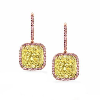 Drop earrings by Julius Klein Group with 12.96ct cushion cut fancy yellow and accenting pink diamonds in 18k rose gold