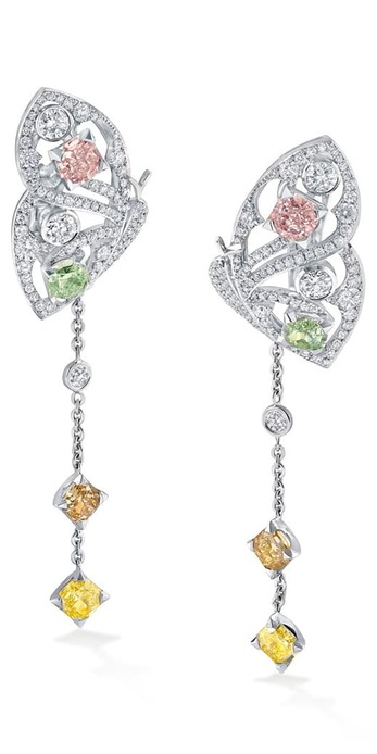 'Papillon' earrings with approx. 4ct fancy coloured diamonds and colourless diamonds in platinum