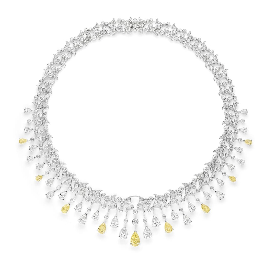 'Soir de Fête' necklace from the 'Josephine Chaumet au Firmament' collection with approximately 10ct pear cut yellow diamonds, 13ct pear-shaped EF VVS colourless diamonds and colourless brilliant cut diamonds in 18k white gold