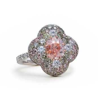 Ring with old mine cut pink diamond, green and pink diamond pavé and 18k white gold