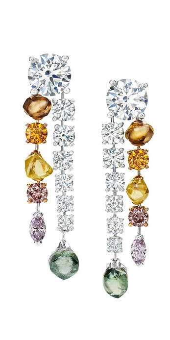 'Vulcan' earrings with two 1.50ct round cut diamonds and coloured diamonds in platinum