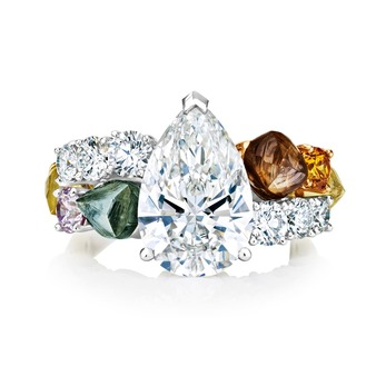 'Vulcan' ring with 3.53ct pear cut diamond and coloured diamonds in platinum