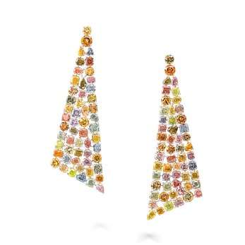 Earrings with 63.38 carats multi-coloured fancy and fancy intense diamonds in platinum