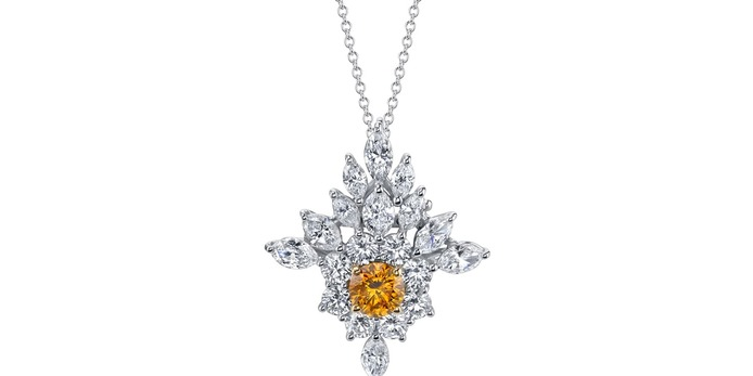 'The Vault' transformable pendant / brooch with 0.99ct fancy intense orange diamond and colourless diamonds in 18k yellow gold and platinum