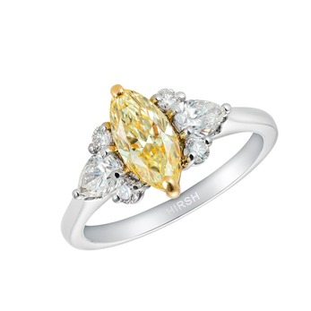 'Papillon' ring with 1.03ct marquise cut natural fancy yellow diamond and colourless diamonds in platinum and 18k gold