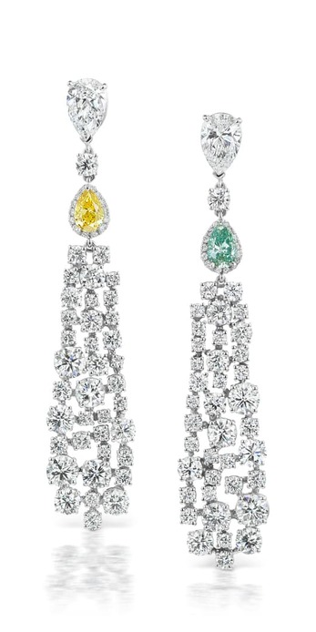 'Drop' statement earrings with 0.62ct blue-green pear cut diamond and 0.60ct pear cut fancy vivid IF yellow diamond, and a total of 10.07ct colourless diamonds in 18k white gold