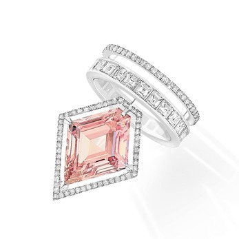 'Kite' ring from the 'Private' collection with kite cut 6.14ct fancy intense pink diamond and colourless diamonds in 18k white gold
