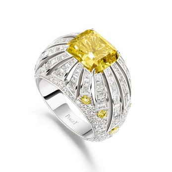 'Sun Vibrations' ring with 4.27ct flawless fancy vivid yellow diamond and colourless diamonds in 18k white gold