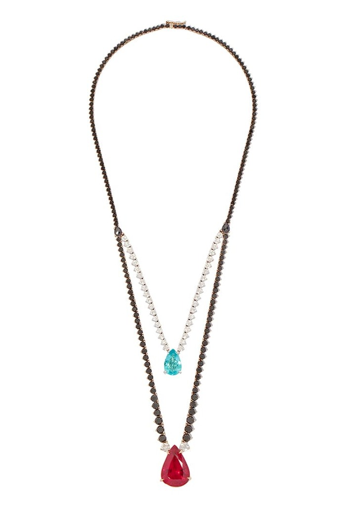Pendant necklace with rubellite, Paraiba tourmaline, black and colourless diamonds in 18k white gold