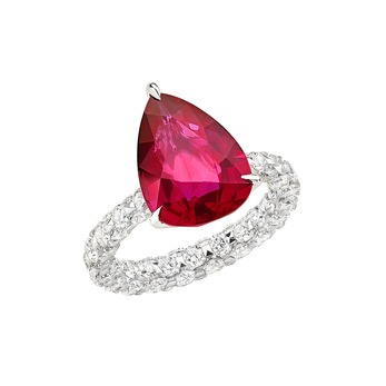 'Merveilles' ring with Mozambique ruby and diamonds in 18k white gold