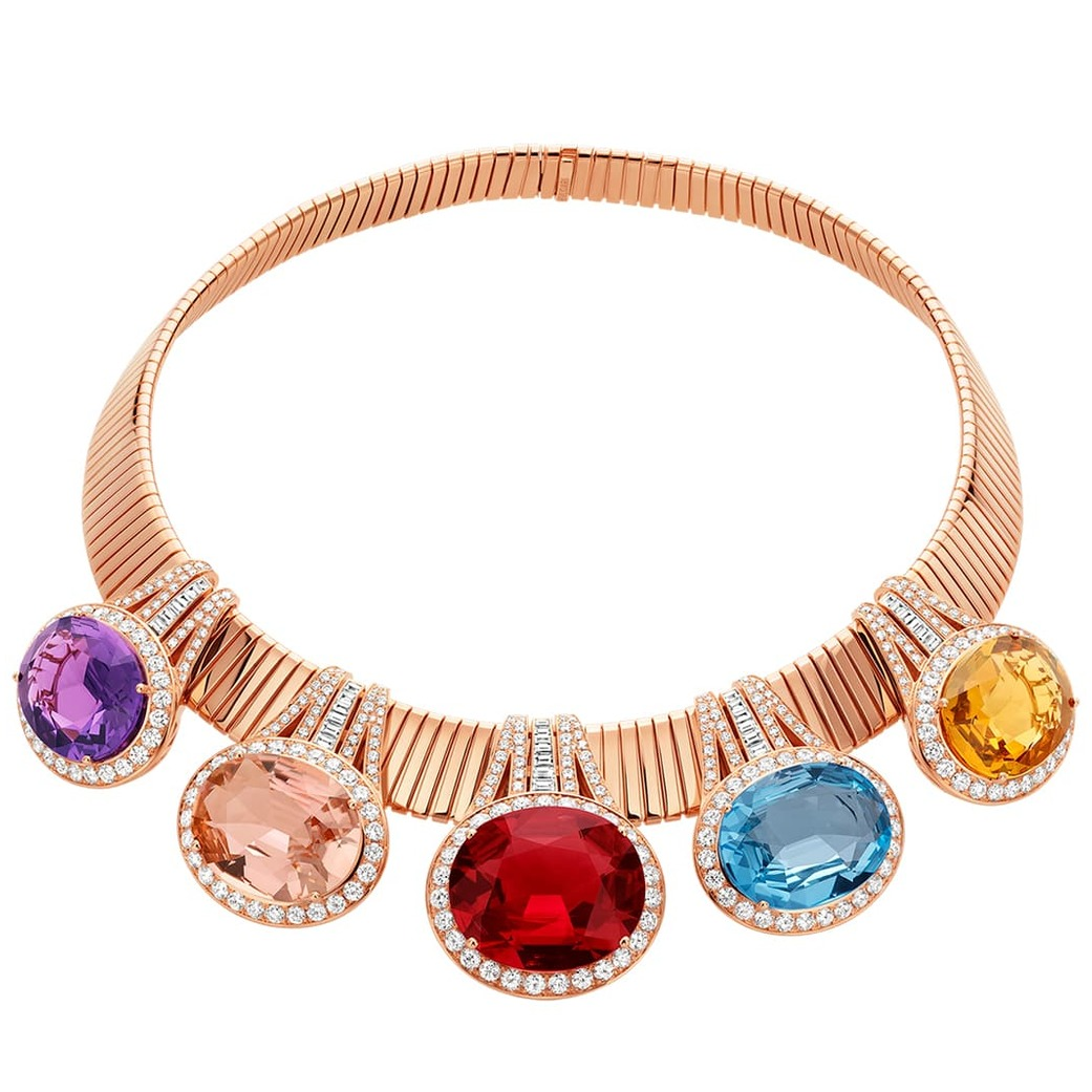 'Future' necklace from the 'Wild Pop' collection with 36.41ct rubellite, citrine, topaz, pink tourmaline, amethyst and diamonds in 18k yellow gold