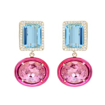'Class' earrings with emerald cut topaz, rubellite and diamonds in 18k white gold