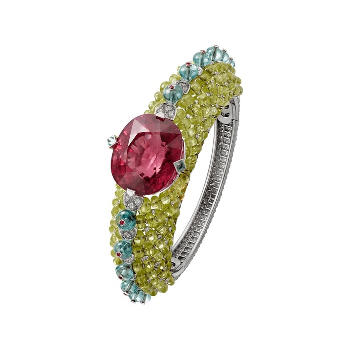 'Holika' bracelet from the 'Coloratura' collection with 30ct cushion cut rubellite, tourmaline, chrysoberyl and diamonds in 18k white gold