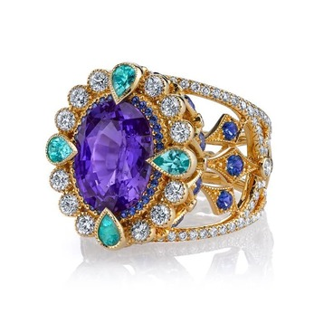 'Empress' ring with colour change sapphire, Paraiba tourmaline, sapphire and diamond in 18k yellow gold
