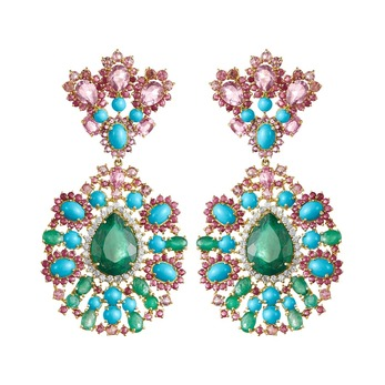Earrings with 25.50ct emerald, amethyst, diamond, ruby, rubellite and turquoise in 18k yellow gold