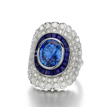 'Daisy' ring with sapphire and diamond in 18k white gold