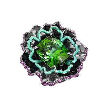 'Fleur de Nuit' ring from the 'Black Magic' collection with green tourmaline, Paraiba tourmaline, pink sapphire and lacquer in 18k white gold