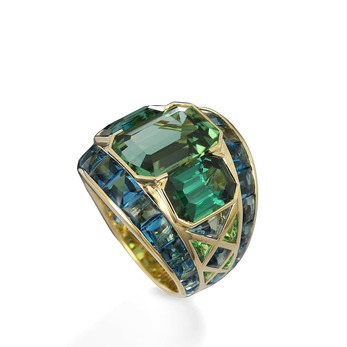 'Ezia' ring with tourmaline and blue topaz in 18k yellow gold