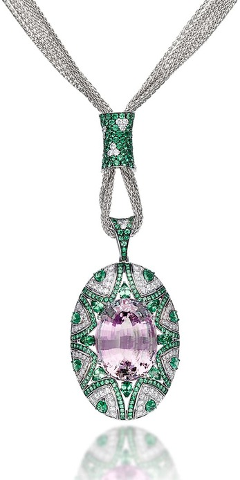 Necklace with 53.41ct kunzite, tsavorites and diamonds in 18k white gold