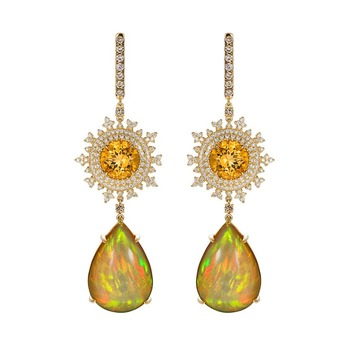 'Tsarina' earrings with beryl, fire opal and diamonds in 18k yellow gold