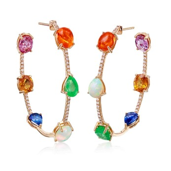 Hoop earrings with multi-stone gems and diamond in 18k yellow gold