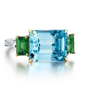 'Florentine' ring with blue topaz, tourmaline and diamonds in 18k white gold