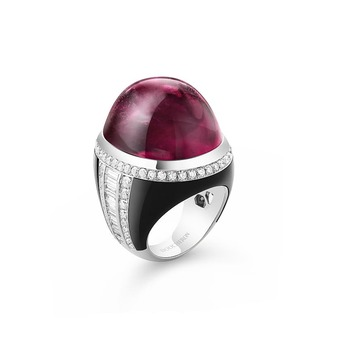 'Cabochon Parfum' ring with rubellite cabochon, diamond and onyx in 18k white gold