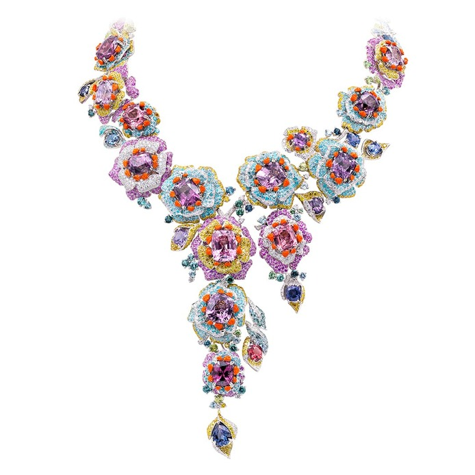 'Rose de France' transformable necklace with blue, pink, orange, purple and raspberry spinel, Paraiba tourmaline, diamond and enamel