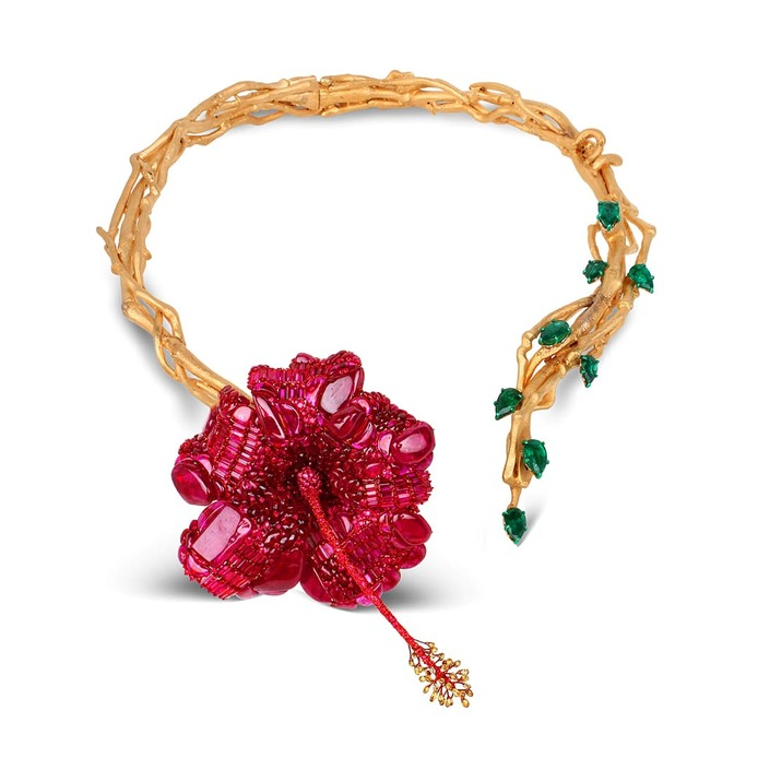 'Hibiscus' necklace for Sotheby's 'In Bloom' exhibition with Mozambique ruby, colourless and yellow diamond, and Zambian emerald
