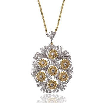 'Two Vases of Flowers' pendant necklace with diamond in 18k yellow and white gold
