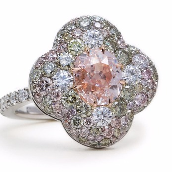Ring with central antique pink diamond, blue, green, pink and colourless diamonds