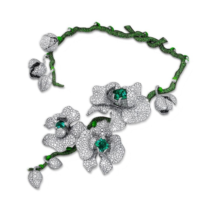 'Orchid King' necklace with emerald, diamond, tsavorite and enamel
