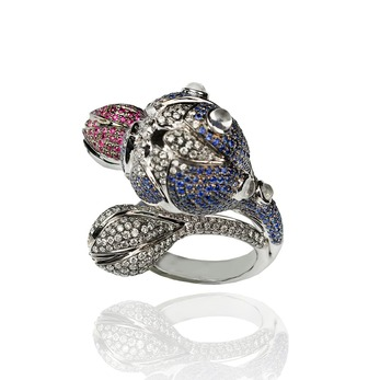 'Passion' ring with sapphire, ruby and diamond