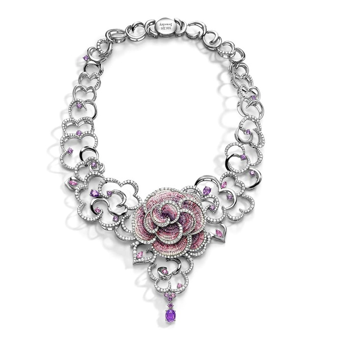 'Purple Carpet' necklace with micromosaic, purple sapphire and diamond in 18k white gold