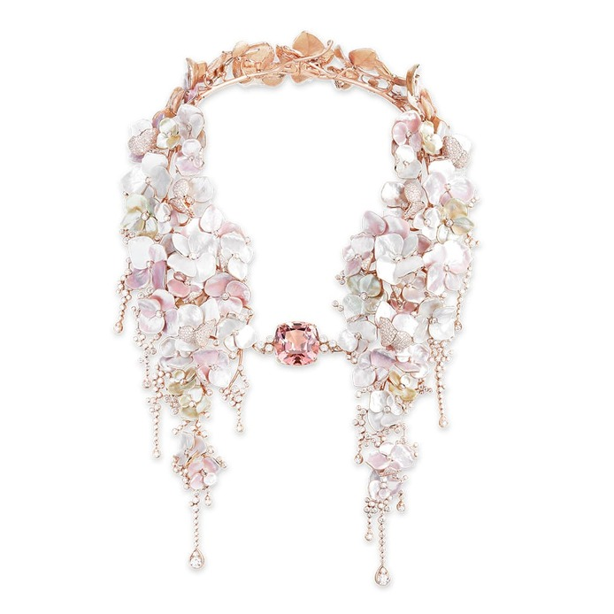 'Nuage de Fleurs' necklace with 42.96 carat cushion cut pink tourmaline, mother of pearl and diamond in 18k rose gold