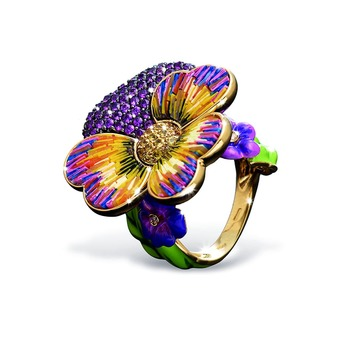 'Printemps Mon Amour' ring with micromosaic, pink and purple sapphire in enamel and 18k yellow gold
